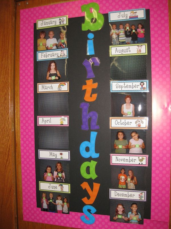 Cute way to display birthdays in the classroom.  The kids are holding the number that represents their birthday within the month.  Cute!