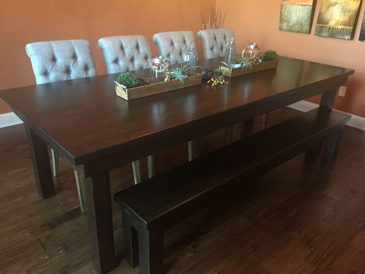 James Solid Alder Farmhouse Table And Bench The Measures Approx L X W Features A Jointed Top All Over Kona Stain With Satin Finish