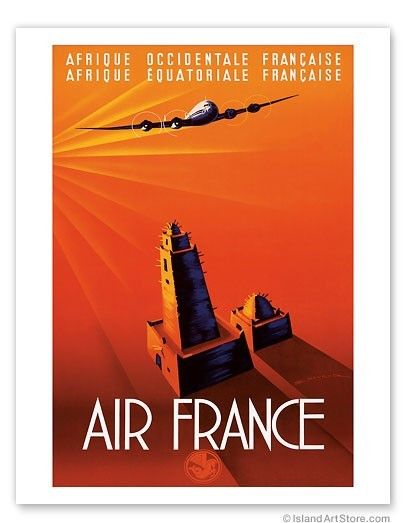French West Africa (Afrique Occidentale Francaise) French Equatorial Africa (Afrique Equatoriale Francaise) - Aviation  Vintage Airline Travel Poster by Edmond Maurus c. 1940's