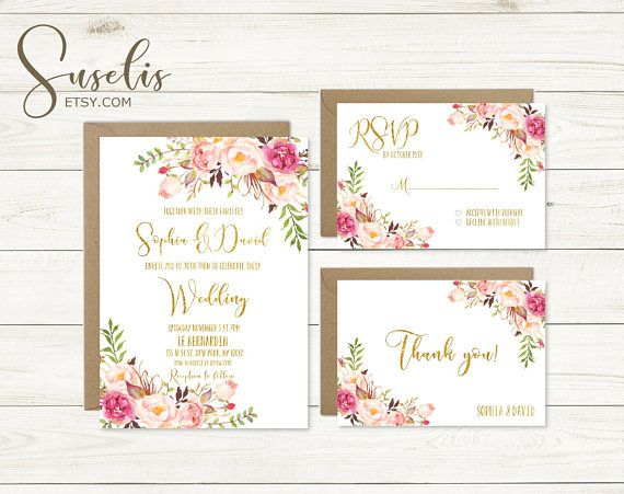 Wedding Invitation Suite Rsvp Thank you Gold Text Romantic