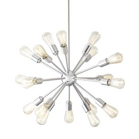 $189 Style Selections 18-Light Brushed Nickel Chandelier - I'm not above the Lowe's repro to get a nice midcentury modern look. Possibly a dining room chandelier for us.