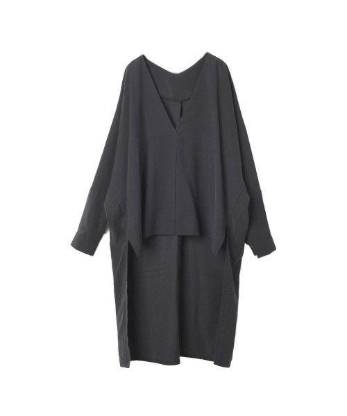 marjour(マージュール)のVneck tail shirts(シャツ/ブラウス)|ブラック