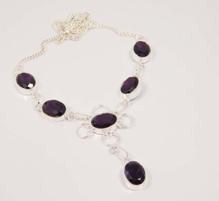 Awesome Faceted Amethyst Quartz .925 Silver Handmade Necklace Jewelry MU1218 #Handmade