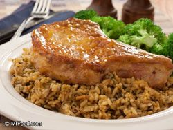 Pork Chop Casserole  6 to 8 pork chops  1 c. rice  1 can cream of mushroom soup  1 can French onion soup  Salt and pepper to taste    Place pork chops in casserole. Mix remaining ingredients with 2 cans water. Bake at 350 degrees for 1 hour or until tender.