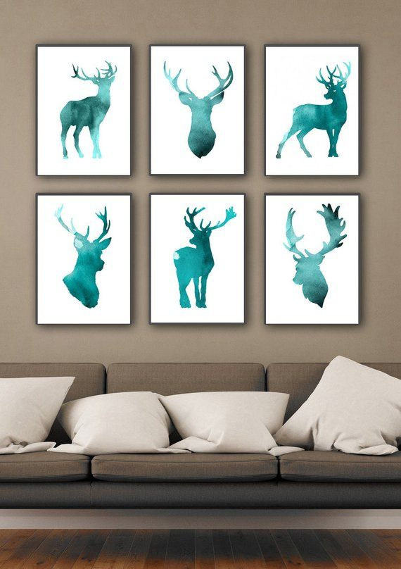 Set of 6 Deer Figurine Art Print, Teal Home Decor, Antlers Watercolor Painting, Blue Deer Head Silho
