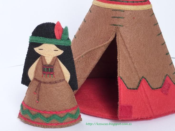 Kosucas : Tipi indio y muñeca de fieltro