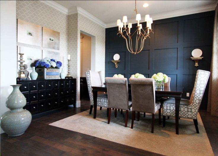 Dining room + black accent wall from navy to black walls