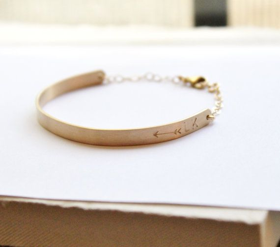 Gold Half Cuff Bracelet-- Gold Bar Bracelet  || Includes || --Thick {4 inch} Gold Filled bar is hand stamped on the right end with an arrow, heart