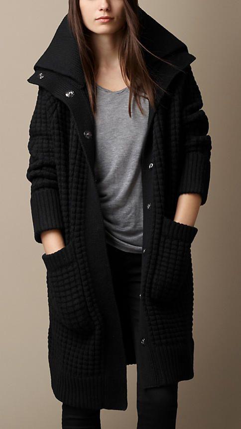 Cardigan-Strickmantel aus Wolle und Kaschmir | Burberry