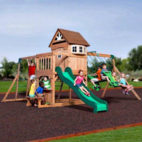 Cedar Wood Swing Set Kids Backyard Playground Climbing Swing Set Lawn Playhouse #BackyardDiscovery