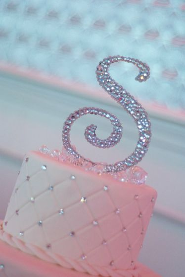 A cute cake just for SANDRA rhinestone glitter cake topper