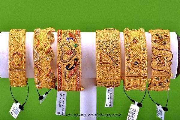 Big Gold Bangles, Broad Gold Bangles, Big Gold Bridal Bangles Designs