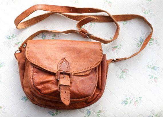 Classic Leather Satchel - Dark Camel Messenger Bag - Old School Handbag