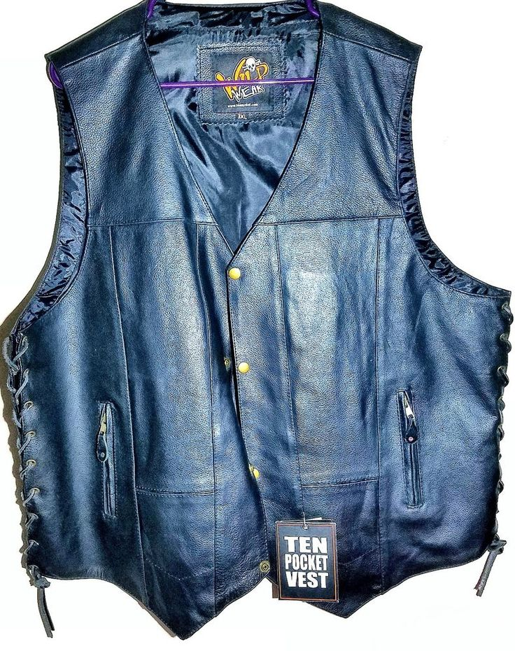 NEW Black Leather WILD WEAR Vest size 3XL- 10 POCKETS Motorcycle Vest #WildWear #Motorcycle