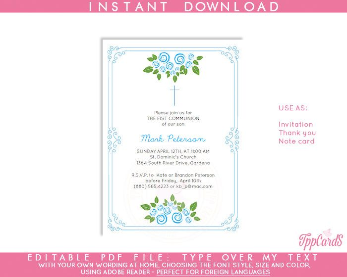 Instant Download 4x6 Blue Cross Baptism Invitations, DIY Editable Pdf, First Communion Invitations, Blue Roses Confirmation Invites AUTOFILL by TppCardS on Etsy