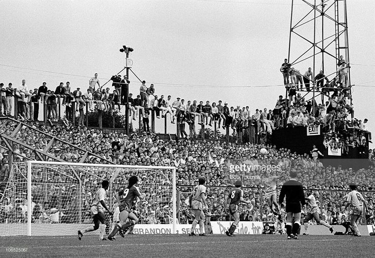 Liverpool fans packed into Highfield Road, Coventry during the Division One football match between Coventry City and Liverpool on 29th August 1987. Liverpool beat Coventry City 4-1.