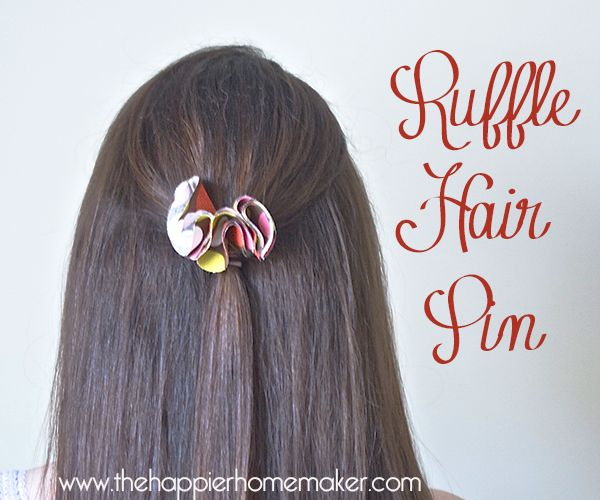 DIY Ruffle Hair Pin - Kids and adults alike will love this DIY hair accessory craft - you only need two fabric circles, a bobby pin and some hot glue!