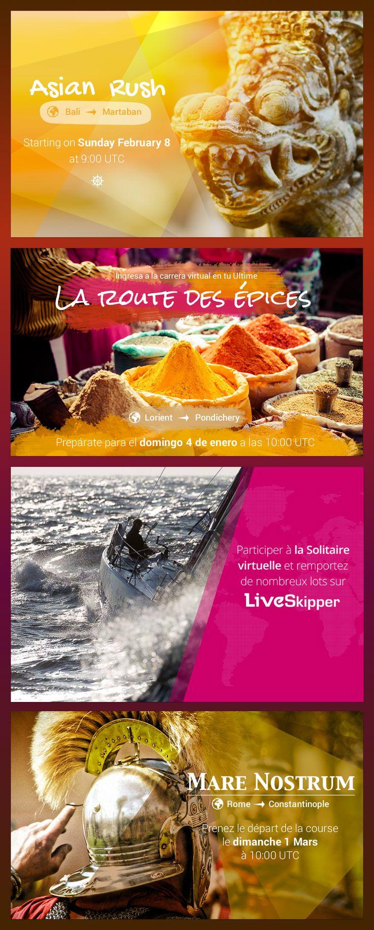 Communication des courses du jeu LiveSkipper. #design #visual #game #sailingrace