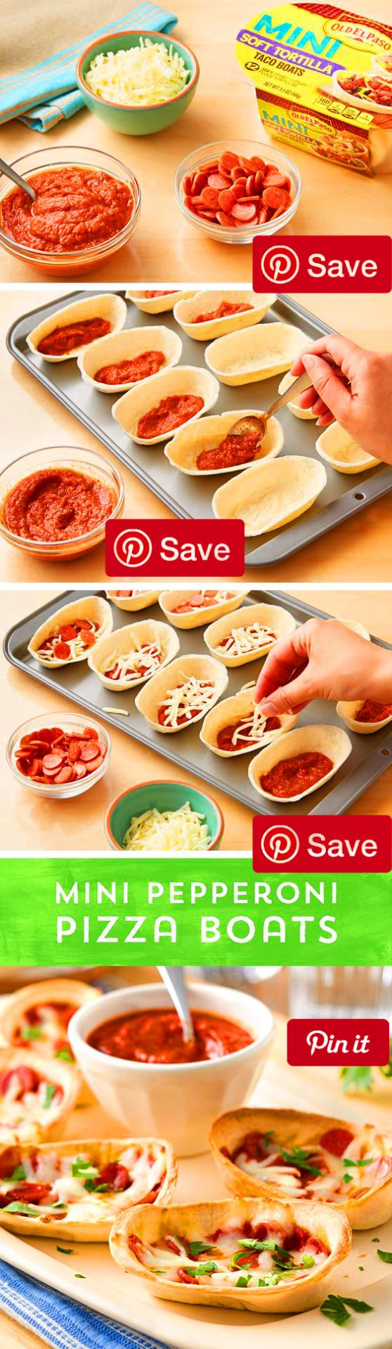 Need a tasty snack or a delicious dish to share? These Mini Pepperoni Pizza boats are sure to make you the snack champion! Theres no need to decide between pizza and tacos - because you can have both! Fill Old El Paso Mini Taco Boats with your favorite pizza sauce mini pepperonis and shredded mozzarella then pop them in the oven for the perfect pizza snack! These bite-sized pizza boats are bound to be a hit with your crowd - and theyre ready to eat in 15 minutes or less! Populars