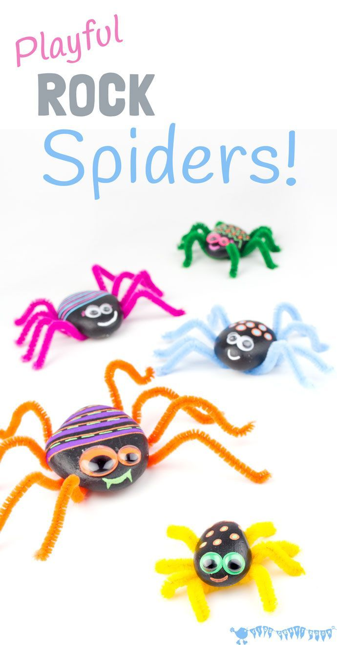 PLAYFUL ROCK SPIDER CRAFT is adorably cute! Homemade spiders are great for imaginative play, Itsy Bitsy Spider songs and Nature studies.