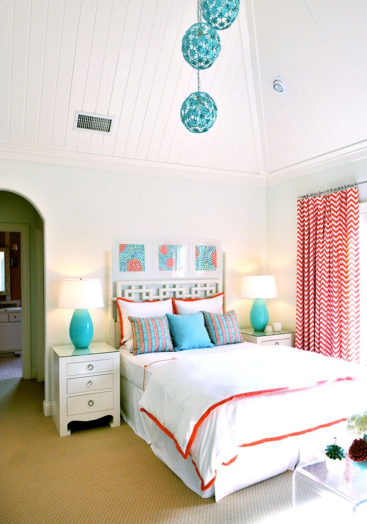 Lola's Room Could paint ceiling a more pale turq blue color and do white walls. Accent with coral.