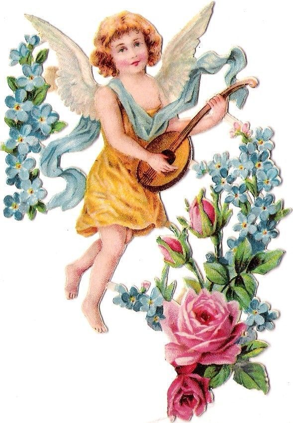 Oblaten Glanzbild scrap die cut chromo Engel angel ange cherub