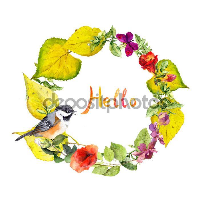 Яркий осенний венок с текстом Hello. Цветы, милые птицы и желтые листья. Цветочные границы акварель