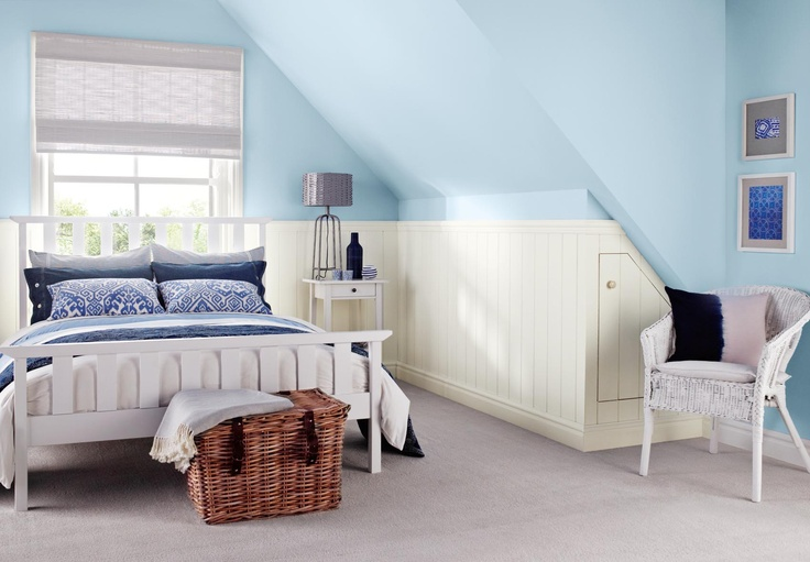 Pale blue bedroom painted with Crown Solo one-coat matt emulsion in Mount Fuji