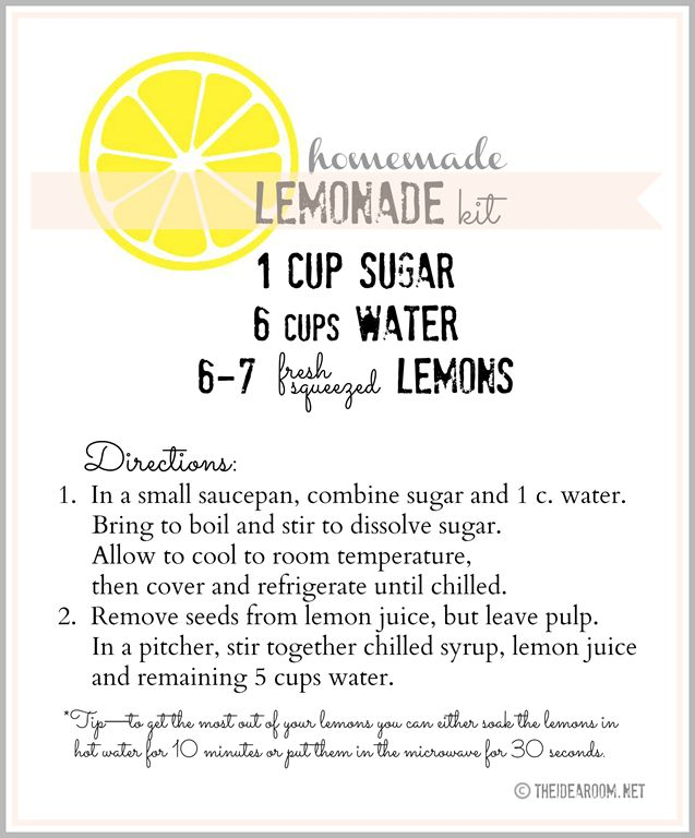 The perfect recipe for Charli's Lemondade Stand! (homemade lemonade recipe label)