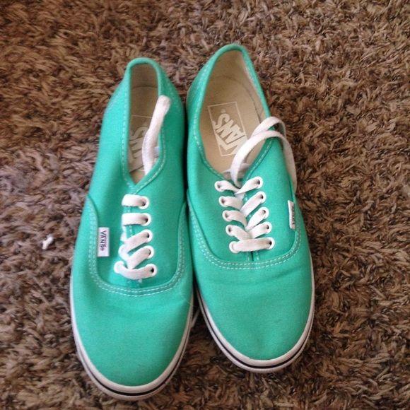 💚MINT VANS💚 Worn once, mint vans😊 more of a teal color Vans Shoes