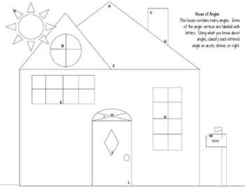 """Angles worksheet Acute, Obtuse, Right """"House of Angles"""