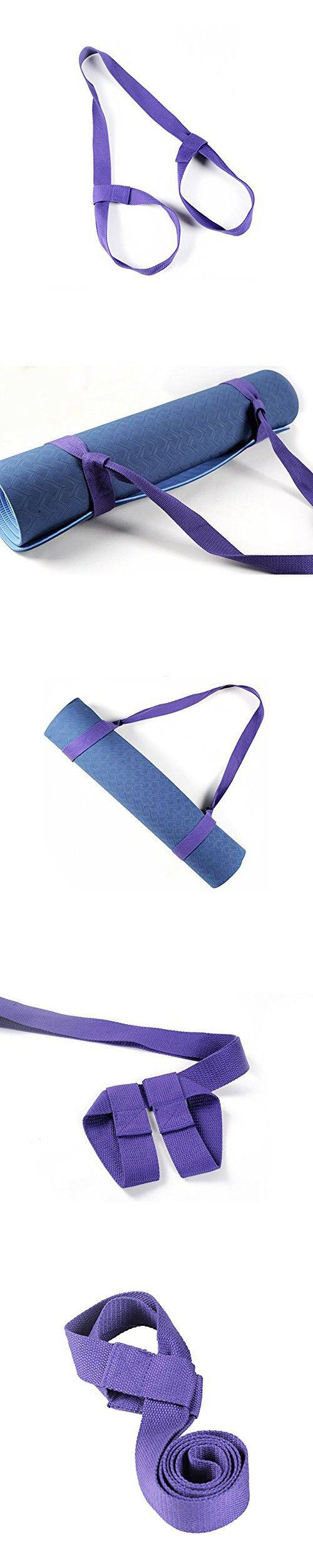 Non-Slip Adjustable Polyester Cotton Yoga Mat Sling Carry Strap Belts for Yoga Mat Pilates Exercises Aerobics Fitness Mat, Purple