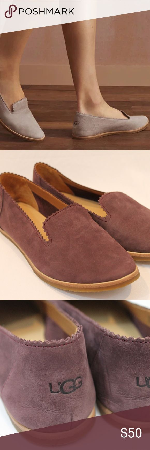UGG VISTA FLATS LOAFERS NUBUCK SUEDE LEATHER 6.5 ♥ Very gently used, little wear ♥ Size 6.5 ♥ Purchased at Nordstrom; retails for $90 ♥ Burgundy color (not nude as seen in first pic) ♥ Nubuck Leather  Price is firm. I do not trade and do not respond to messages asking me to do so. UGG Shoes Flats & Loafers