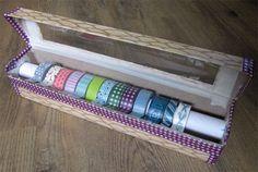 Washi Tape DIY organiser from old aluminum foil box