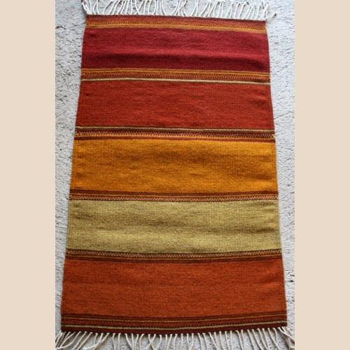 Burnt Orange Bright Stripes Wool Rug