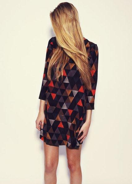 Black triangle print palette dress by Secret Squirrel