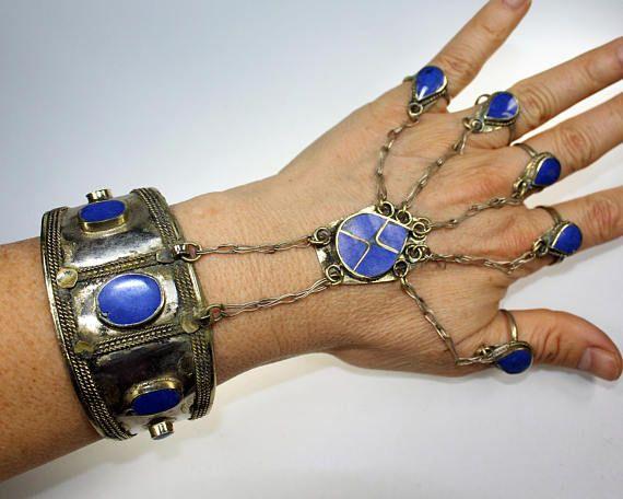 Handflower mit blauen Steinen Tribal-Armspange Afghanisches