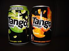 """Tango - soft drink primarily sold in the UK, Ireland, Sweden, Norway & Hungary, first launched by Corona in 1950. As of August 2015, the flavours available in the UK include orange, apple, blackcurrant, cherry & citrus, in addition to flavours of the slushpuppy-style """"Tango Ice Blast"""" range."""