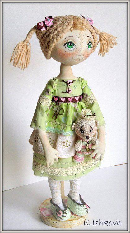 Textile Art Cloth doll Mary Fantasy Bear  by ArtDollsByKseniya, $112.00