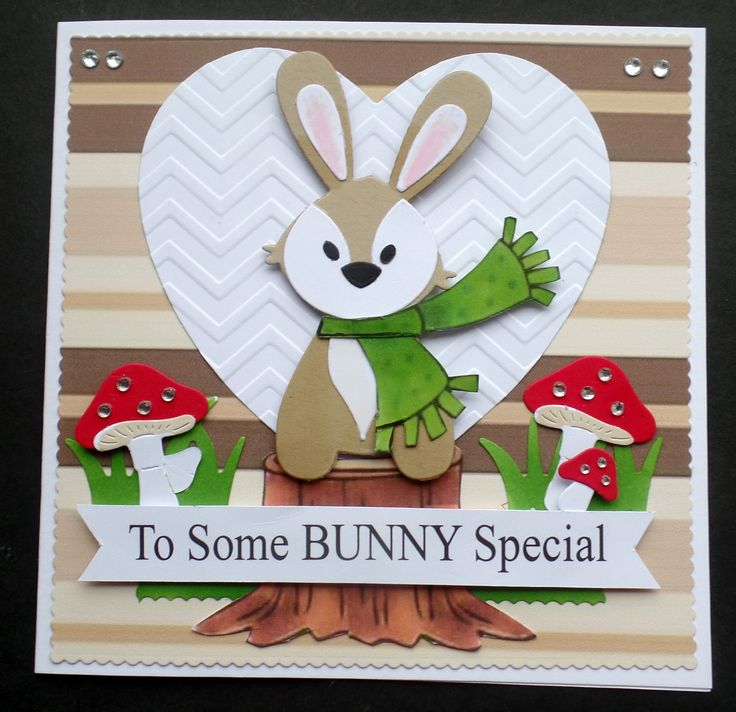 S135 Hand made Birthday card using Marianne Rabbit and Cottage Cutz mushrooms