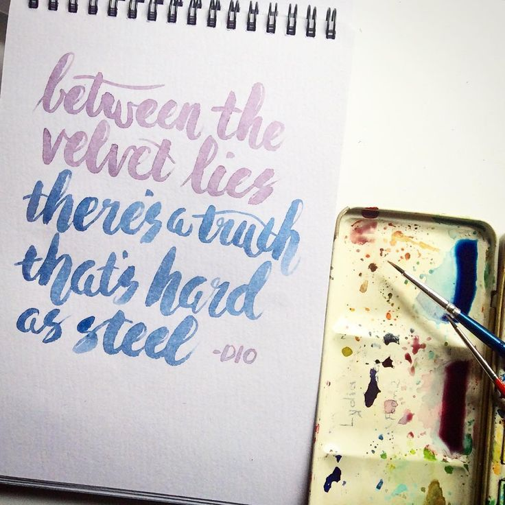 """Oh Dio, such poetry """"between the velvet lies, there's a truth that's hard as steel"""" #holydiver #brushlettering #watercolourtypo #songlyrics #thedailytype #handmadefont #goodtype #typegang #brushtype #handlettering #todaystype #respecttherock #3rrr @rebeccafeinerdesign"""