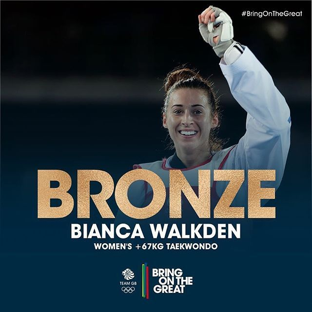 #Bronze for Bianca! Amazing from Bianca Walkden, she wins 7-1 to claim her Women's +67KG #Taekwondo medal! Congratulations  Bianca! #BringOnTheGreat ❤️