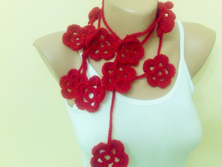 Handmade scarf with flowers. new fashion, Red lariat, home decor