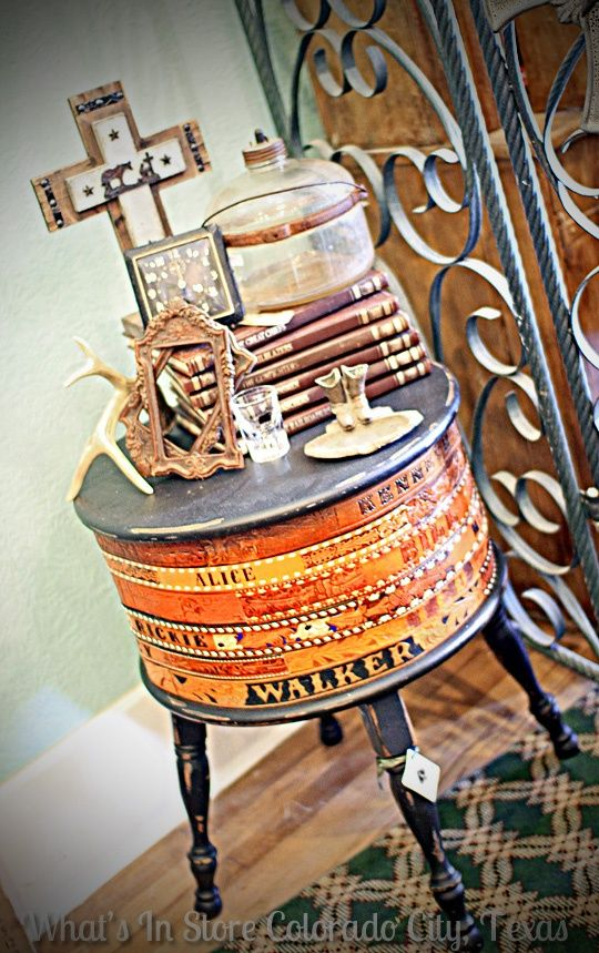 Real Life Inspiration: Custom Western Belt Table from What's In Store in Colorado City, TX. Would make a great DIY project for a western home. | Stylish Western Home Decorating