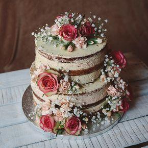 Hochzeitstorte mit echten Blumen, Naked Cake, zweistöckig, Hochzeitstorte ohne …   – Hochzeitstorten