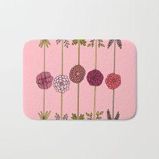 Garden Flowers Illustration - in Pinks Bath Mat