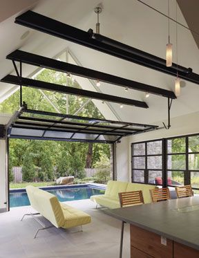Fantastic idea to close of the porch.Indooroutdoor, Garages Doors, Living Rooms, Contemporary Living Room, Indoor Outdoor, Garage Doors, Pools House, Pool Houses, Outdoor Pools