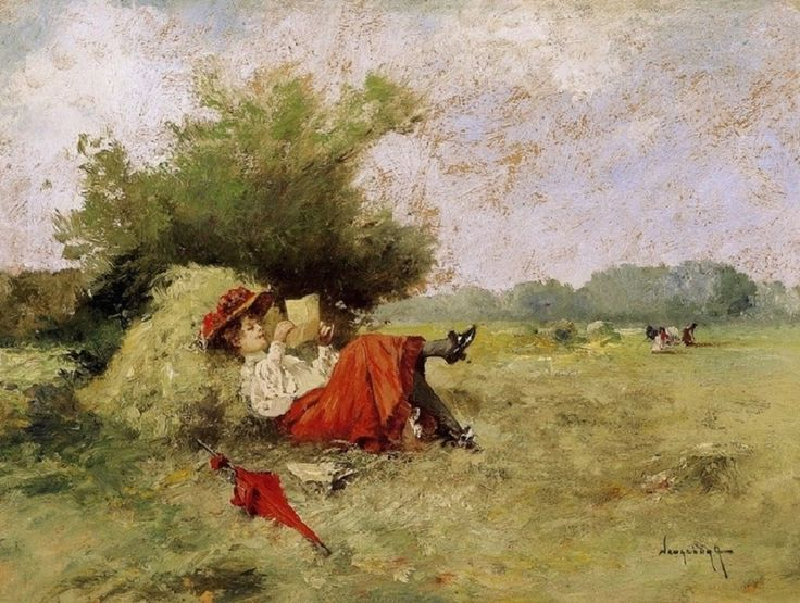 Antal László Neogrády (Hungarian, 1861-1942) – Love Letter (Oil on cardboard) – Neogrády studied at the School of Model Drawing under Janos Greguss, then at the Munich Academy. He took part in exhibitions from 1888 mostly with his watercolours. Between 1893 and 1931, he taught watercolour painting at the Academy of Fine Arts… (Németh György)