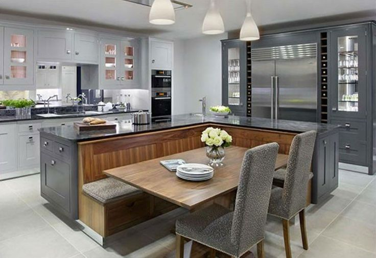Kitchen island with built-in seating inspiration | The Owner-Builder Network