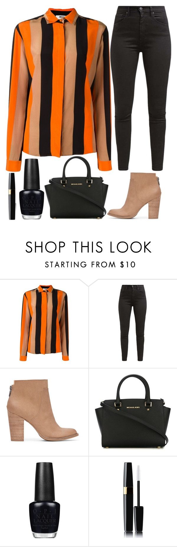 """""""coffee date"""" by j-n-a ❤ liked on Polyvore featuring MSGM, Levi's, Lucky Brand, MICHAEL Michael Kors, OPI and Chanel"""